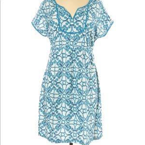 Tommy Bahama Blue Split Neck Cotton Dress
